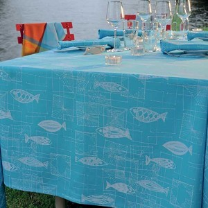 "MILLE MICA TURQUOISE Tablecloth  Coated 69"" Round"