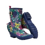 Womens Mid-Height Wellies, French Navy Chelsea Floral