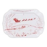 Country Estate Winter Frolic Gift Tray , Joy to the World, Ruby