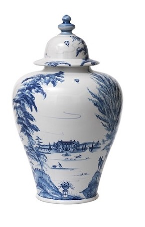 Country Estate Tall Lidded Ginger Delft Blue