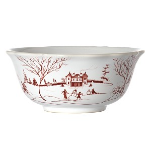 Country Estate Cereal/Ice Cream Bowl Winter Frolic Ruby