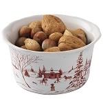 Country Estate Nut/Dip Bowl Winter Frolic Ruby