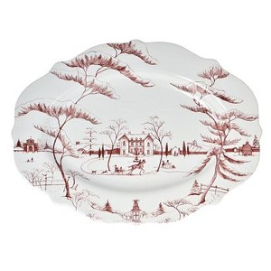 Country Estate Lg Serving Platter Winter Frolic, Main House Ruby