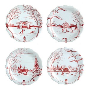 Country Estate Party Plates Set/4 Winter Frolic