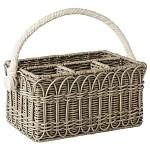 Waveney Wicker Utensil Caddy Grey Wash
