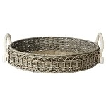 Waveney Wicker Round Tray Grey Wash