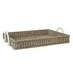 Waveney Wicker Rectangular Tray Grey Wash