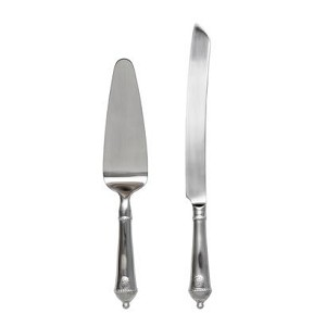 Berry and Thread Cake Knife & Server Set Bright Satin