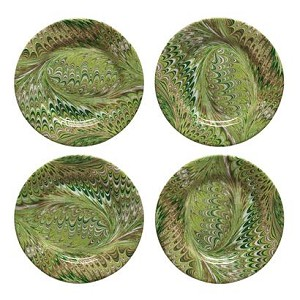 Firenze Marbleized Cocktail Plate Set/4 Pistachio