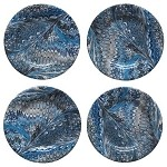 Firenze Marbleized Cocktail Plate Set/4 Delft Blue