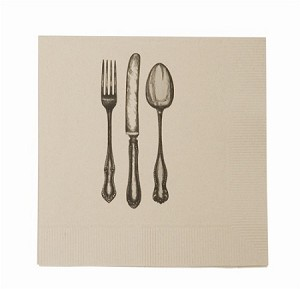 Fork, Knife and Spoon Recycled Cocktail Napkin