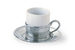 Match Espresso Cup and Pewter Saucer
