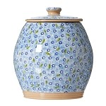 Lawn Pattern Blue Cookie Jar