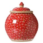Lawn Pattern Red Cookie Jar