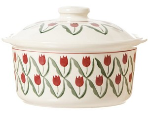 Red Tulip Medium Lidded Casserole