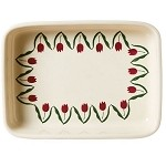 Red Tulip Large Rectangular Oven Dish