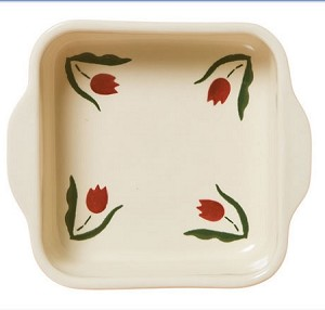 Red Tulip Square Oven Dish