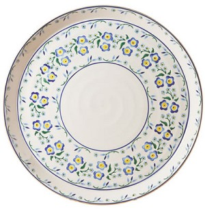 "Forget Me Not Footed 11"" Cake Plate"