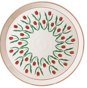 "Red Tulip Footed 11"" Cake Plate"