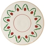 Red Tulip Footed Cake Plate 9''