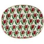 Red Tulip Signed Oval Platter