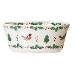 Winter Robin Sm Oval Pie Dish