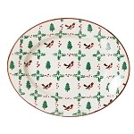 Winter Robin Small Oval Serving Dish