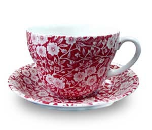 Red Calico Breakfast Cup  and  Saucer