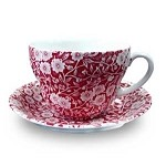Red Calico Breakfast Cup & Saucer