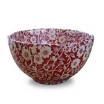 Red Calico Large Sugar Bowl