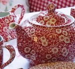 Red Calico Large Teapot