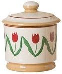 Red Tulip Lidded Sugar Pot