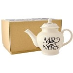 Black Toast Mr & Mrs 2 Cup Teapot Boxed