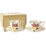 Polka Dot Mr  and  Mrs Set of 2 Small Cups  and  Saucers