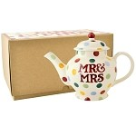 Polka Dot Mr  and  Mrs 2 Cup Teapot Boxed
