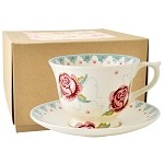 Rose and Bee Large Teacup & Saucer - Boxed