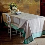 Jardin Ala Fraicaise Celedon Tablecloth and Accessories, Green Sweet