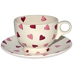 Pink Hearts Breakfast Cup & Saucer