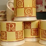 "Yellow & Brown Letter Mug ""V"""
