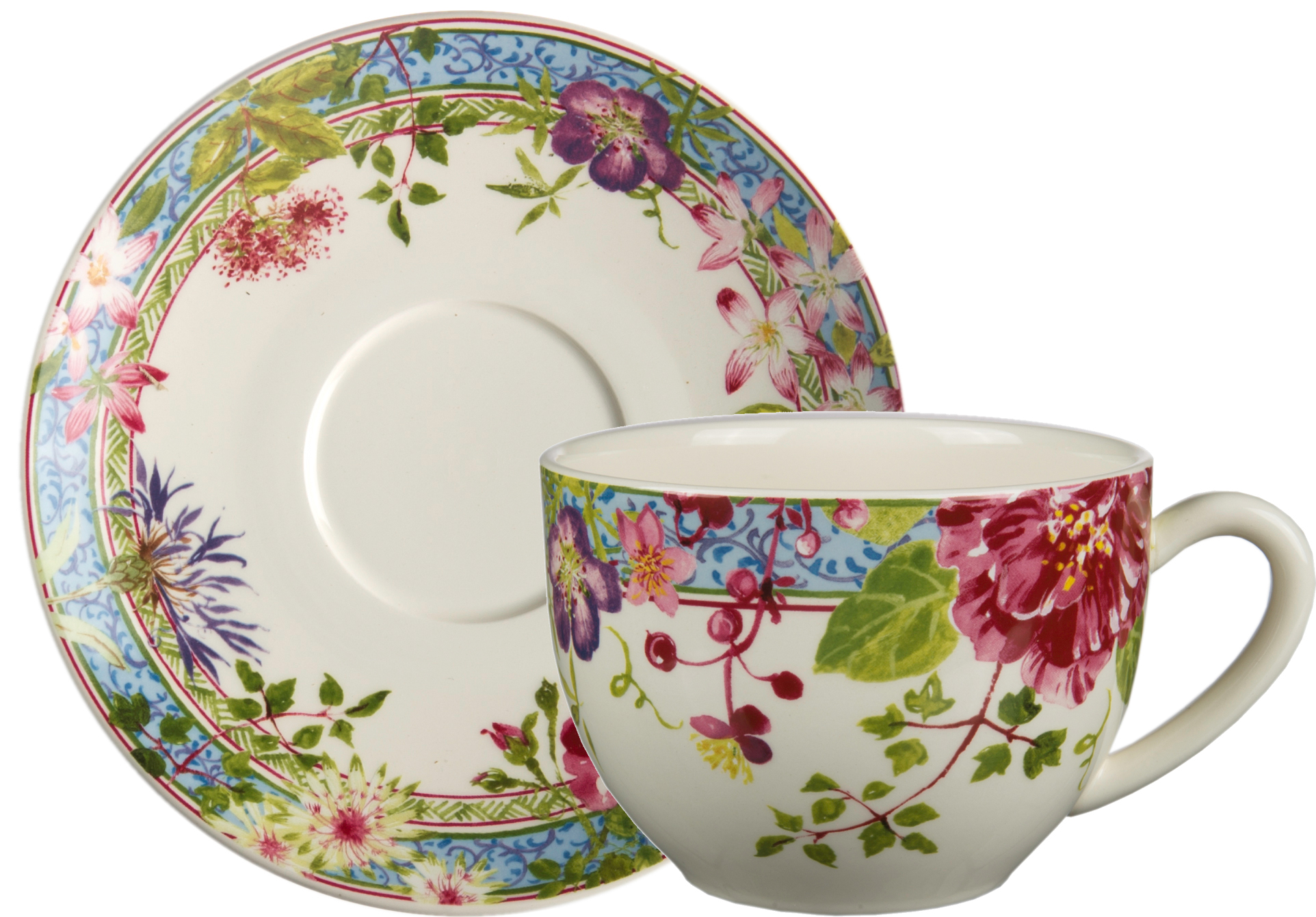 Gien Millefleurs Jumbo Cup and Saucer- allow 6-8 weeks
