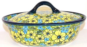 Polish Pottery Lidded Casserole in Citrine