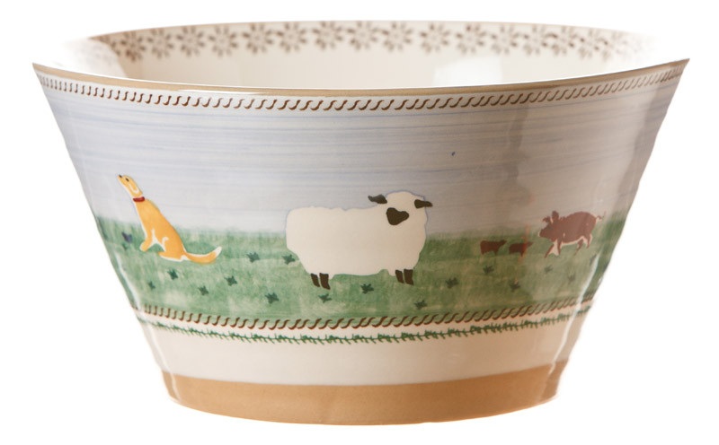 Landscape Mixed Animal Large Angled Bowl
