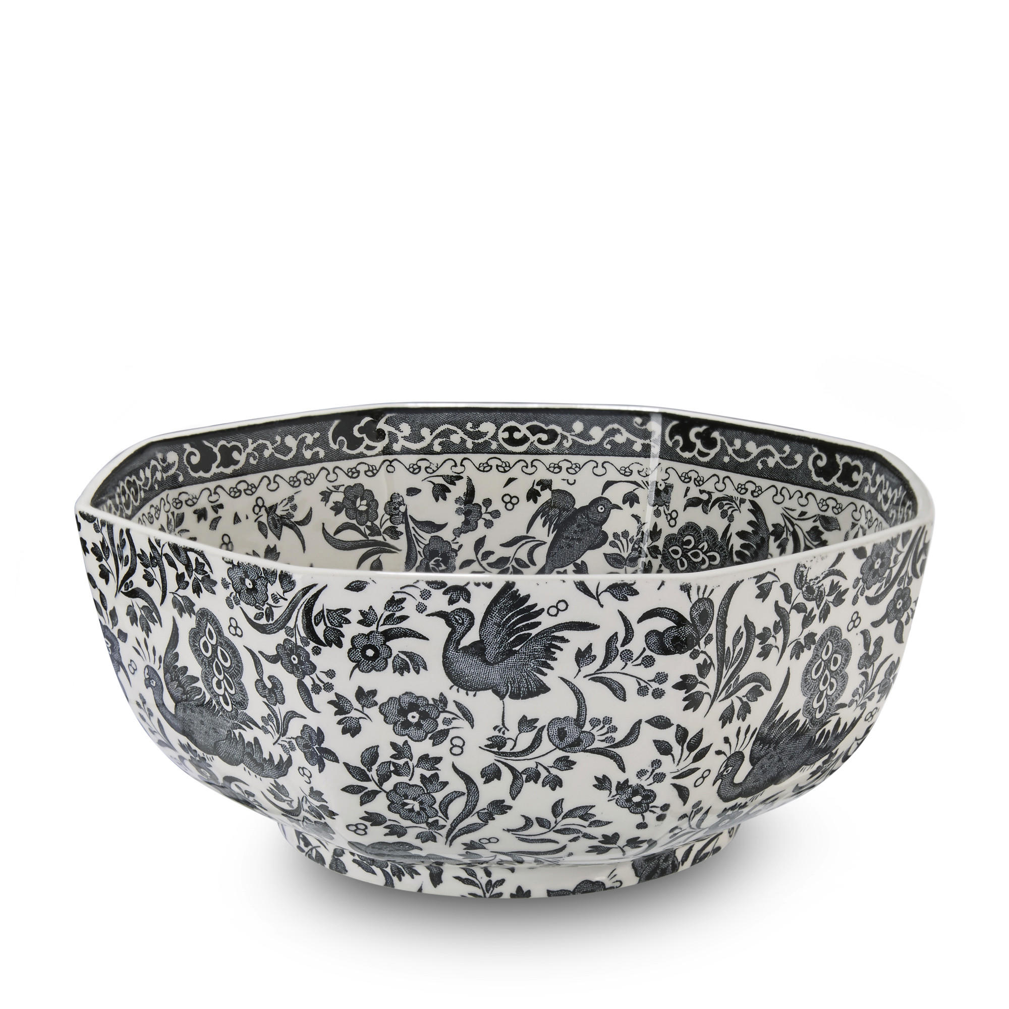 Black Regal Peacock Hexagonal Bowl Medium