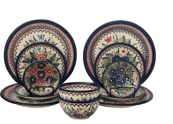 Butterfly Merry Making and Strawberry Butterfly  Polish Pottery 12 Pc Designer Dinnerware