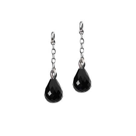 Fancy Facet Drops Earrings with Onyx, 0.4 inch - 1 pair available