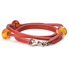 Bracelet Leather w/Silver Red