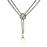 Fantasy Pearl Necklace with Crystal Triangle