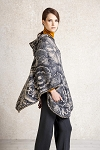 Ivko Poncho with Floral Relief Anthracite