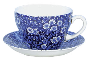 Blue Calico Breakfast Cup  and  Saucer