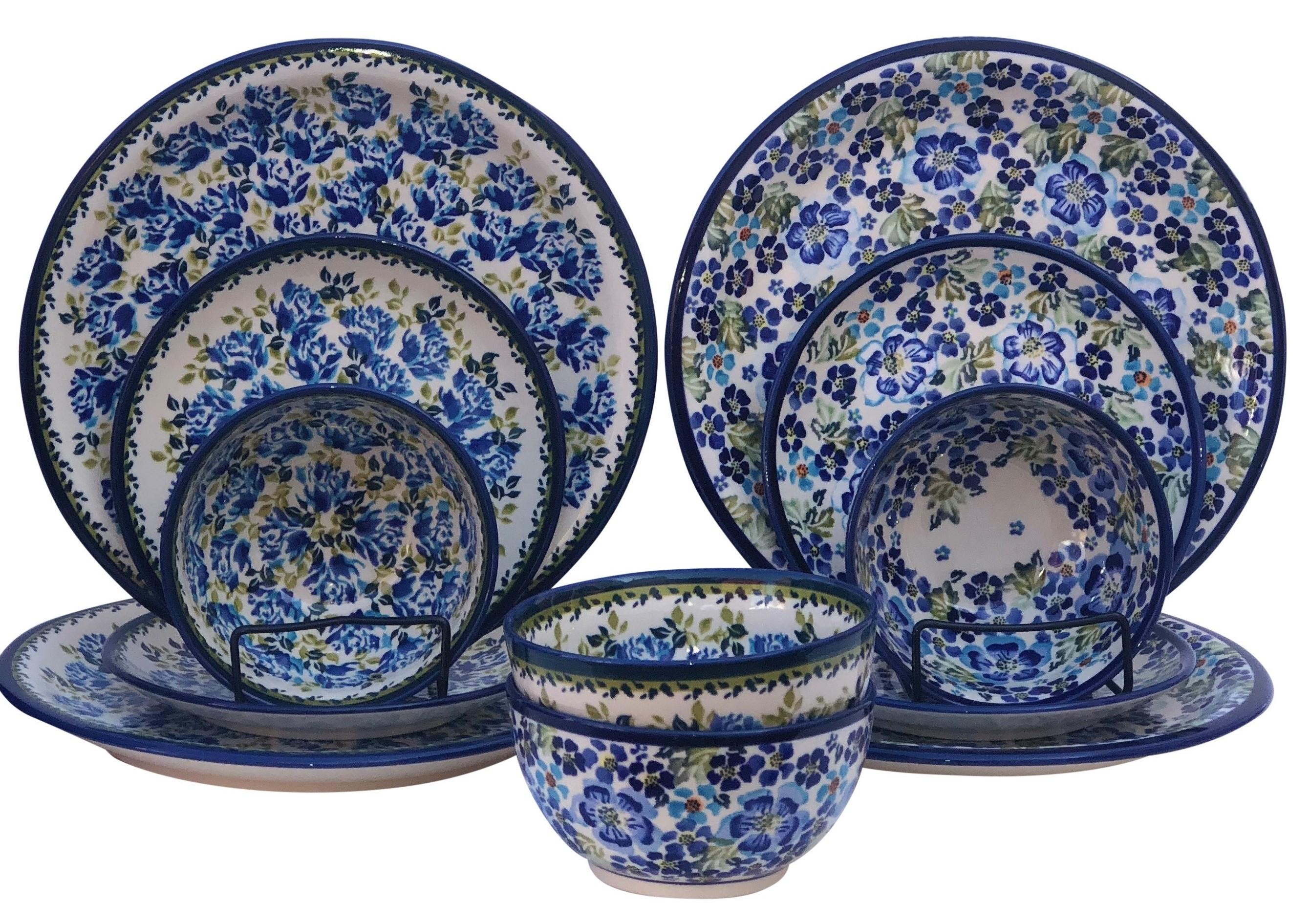 True Blue Polish Pottery 12 Pc Dinnerware Set